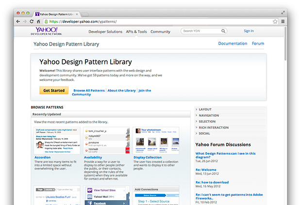 Screenshot Yahoo Pattern Library