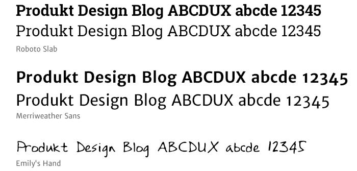produktbezogen Facelift Typographie